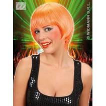 Pruik rave neon oranje