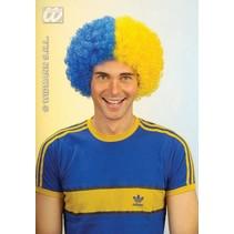 Pruik krullen blauw/geel