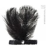 Hoofdband zwart met marabou en steen