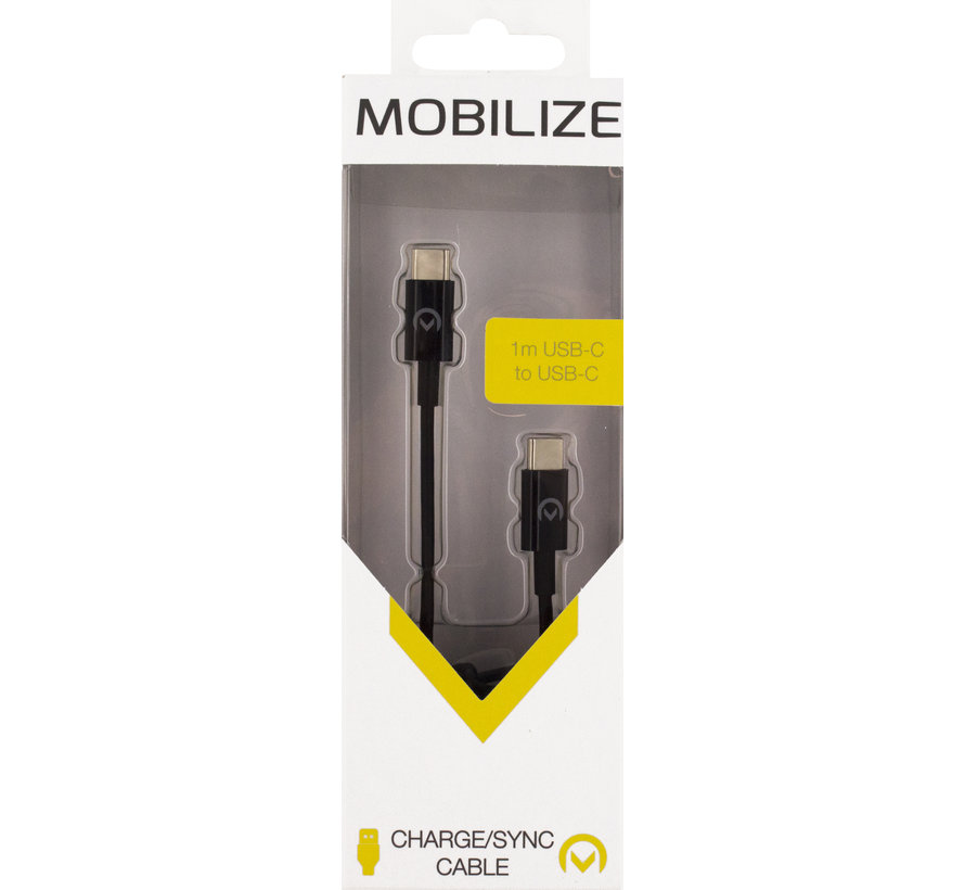 Mobilize Charge/Sync Cable USB-C 2.0 to USB-C 2.0 1m. 3A Black