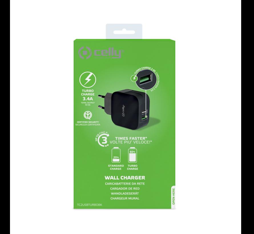 Celly Wall charger 2 USB poorten, output 3.4 A zwart