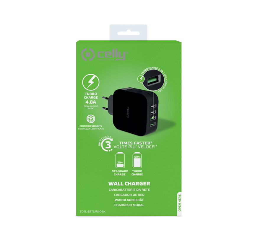 Celly Wall charger 4 USB poorten, output 4.8 A zwart