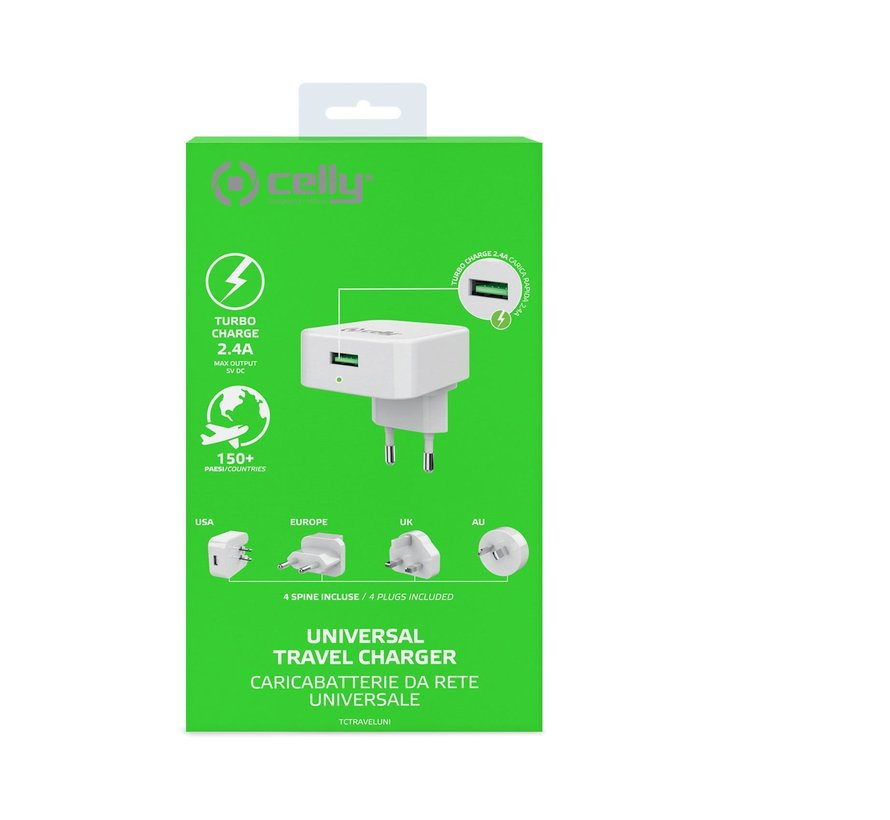 Celly UNIVERSAL TRAVEL CHARGER 100 to 240 volt