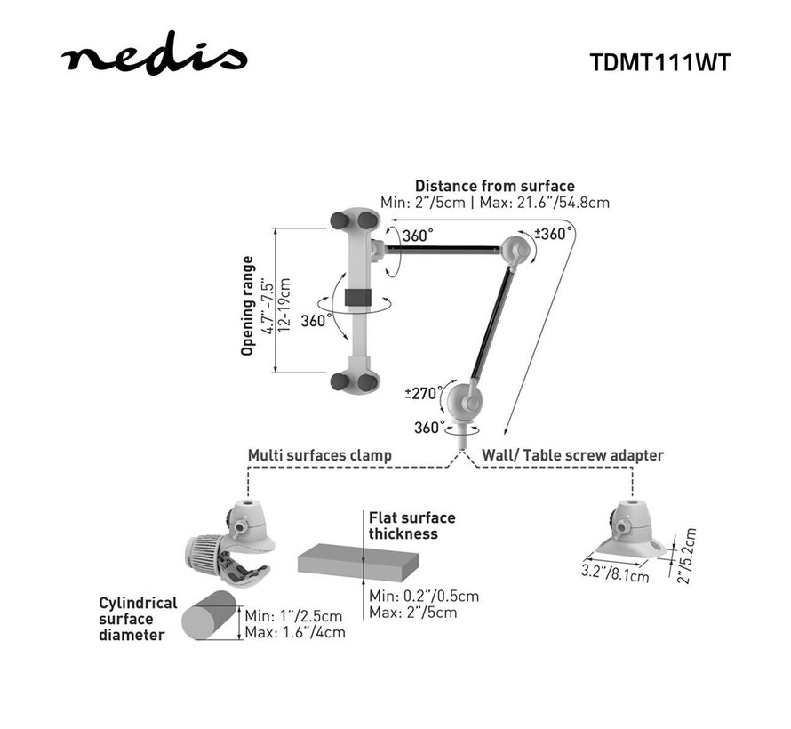 Tablet- en smartphone-houder | opvouwbare arm | 4 - 12 inch | Full Motion