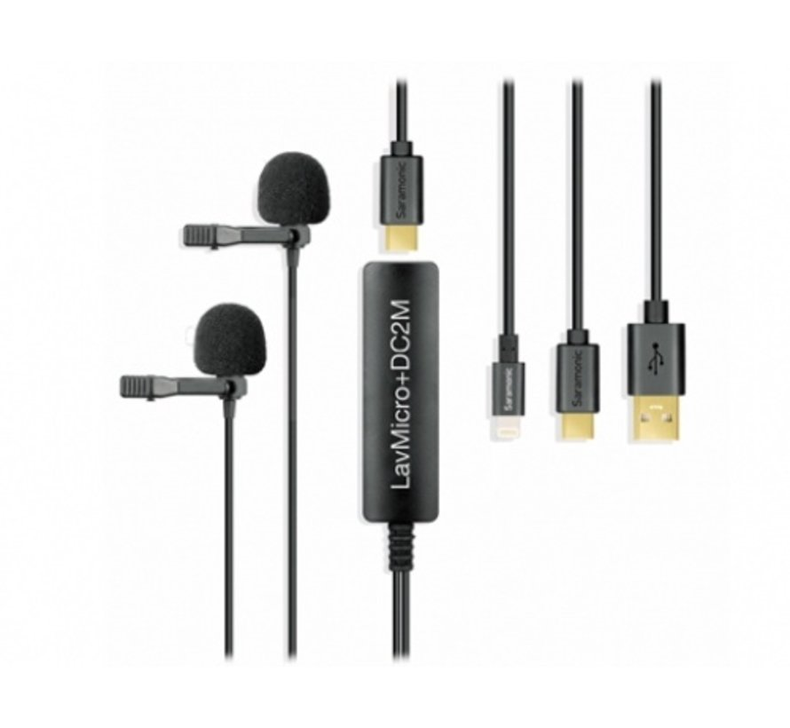 Saramonic LavMicro+ DC, lavalier microphone with 3 detachable output cables for iOS, Android, Mac and PC; 3.5mm headphone jack