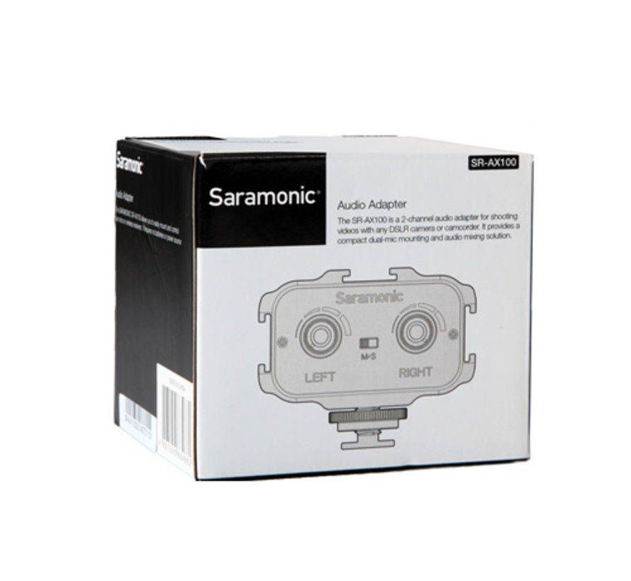 Saramonic SR-AX100, compact 2-channel passive audio mixer with 3.5mm TRS stereo output