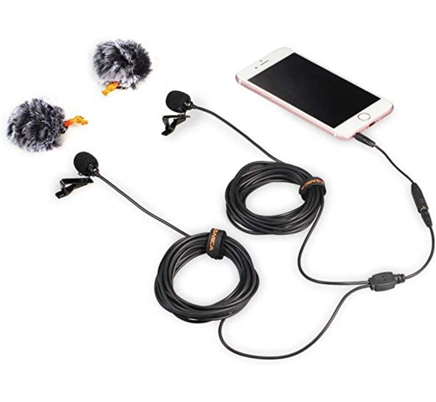 Comica CVM-D02 dubbele dasspeldmicrofoon (3,5mm)