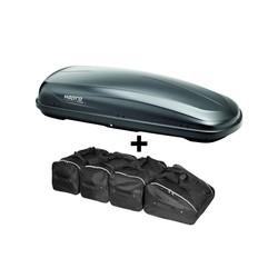 Hapro Traxer 6.6 Antraciet - Dakkoffer + Tassenset - 410 L - 5 Jaar garantie