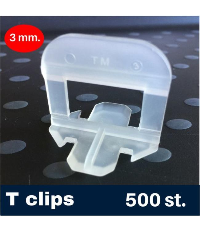 3 mm. -T- Tegel levelling Clips 500 st.