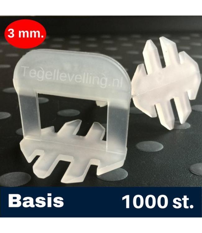 3 mm. Basis. Tegel levelling Clips 1000 st.