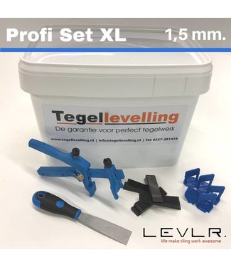 TegelFix Levelling Starters kit 1,5 mm. Profi Set XL. 500 clips