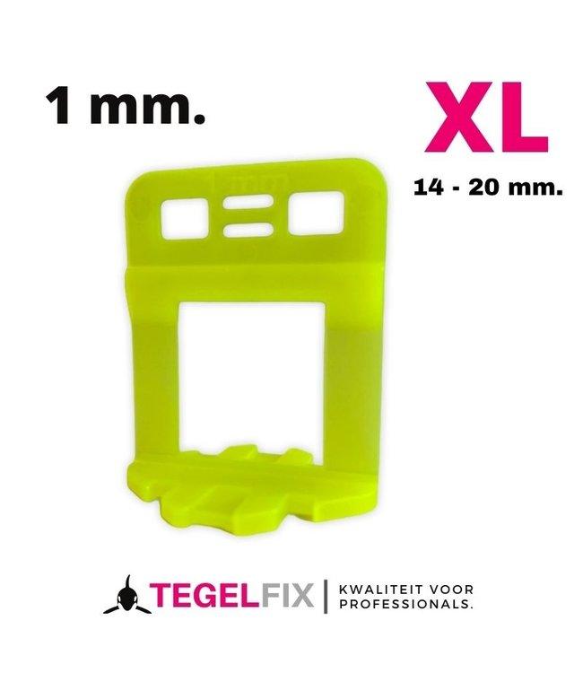 TegelFix XL Levelling clips 1 mm. 1000 stuks