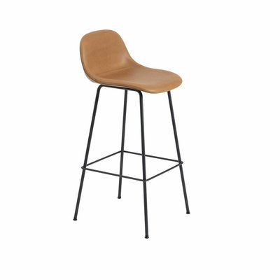 MUUTO FIBER BAR STOOL LEATHER W.BACKREST - TUBE BASE
