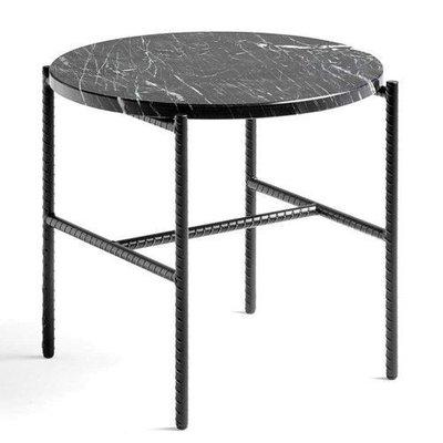 HAY Rebar side table soft black steel - black marble top