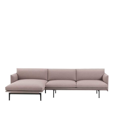 MUUTO OUTLINE SOFA - CHAISE LONGUE - BLACK BASE