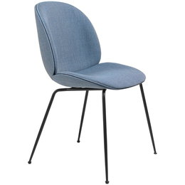 GUBI BEETLE CHAIR FULLY UPHOLSTERED REMIX 733 BLUE - BASE MATT BLACK