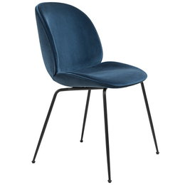GUBI BEETLE CHAIR FULLY UPHOLSTERED DANDY 602 BLUE - BASE MATT BLACK