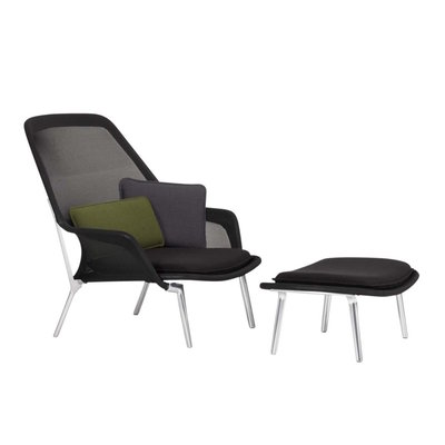 VITRA SLOW CHAIR LOUNGE CHAIR & OTTOMAN