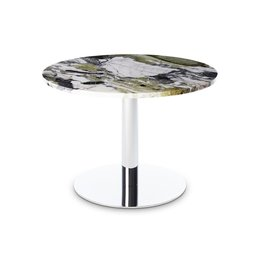 TOM DIXON FLASH CIRCLE ROUND SIDE TABLE -  CHROMED BASE