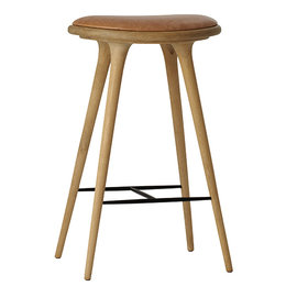 MATERDESIGN HIGH STOOL BARKRUK 74 CM GEZEEPT EIKEN NATUREL LEDER