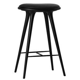 MATER HIGH STOOL 74 CM BLACK BEECH BLACK LEATHER SEAT