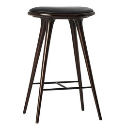 MATER HIGH STOOL 74 CM. DARK STAINED BEECH BLACK LEATHER