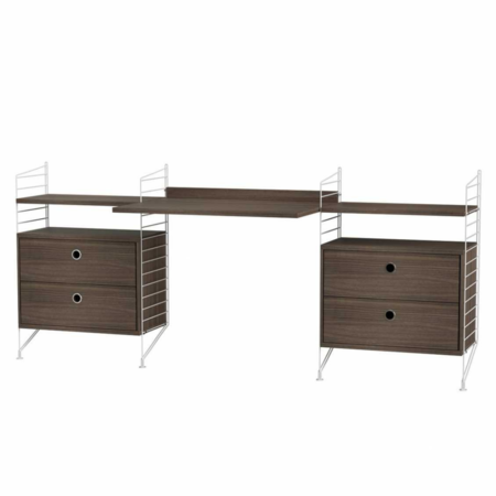STRING WALL CABINET LOW WITH DRAWERS AND DESK COMBO BROWN -  OAK