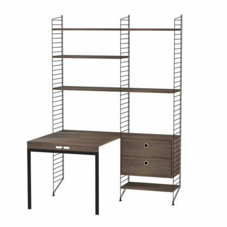 STRING WALL CABINET HIGH - FOLDING TABLE COMBO BROWN - OAK