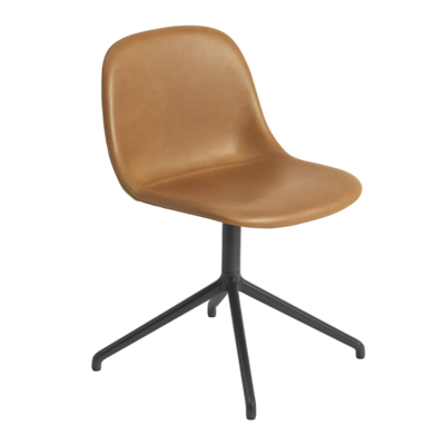 MUUTO FIBER SIDE CHAIR - SWIVEL BASE - LEATHER
