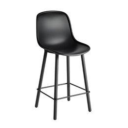 HAY NEU 12 BAR STOOL SOFT BLACK/ BLACK OAK WOOD BASE