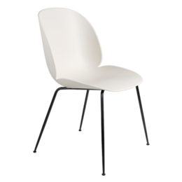 GUBI BEETLE DINING CHAIR - ALABASTER WHITE - BLACK CONIC BASE