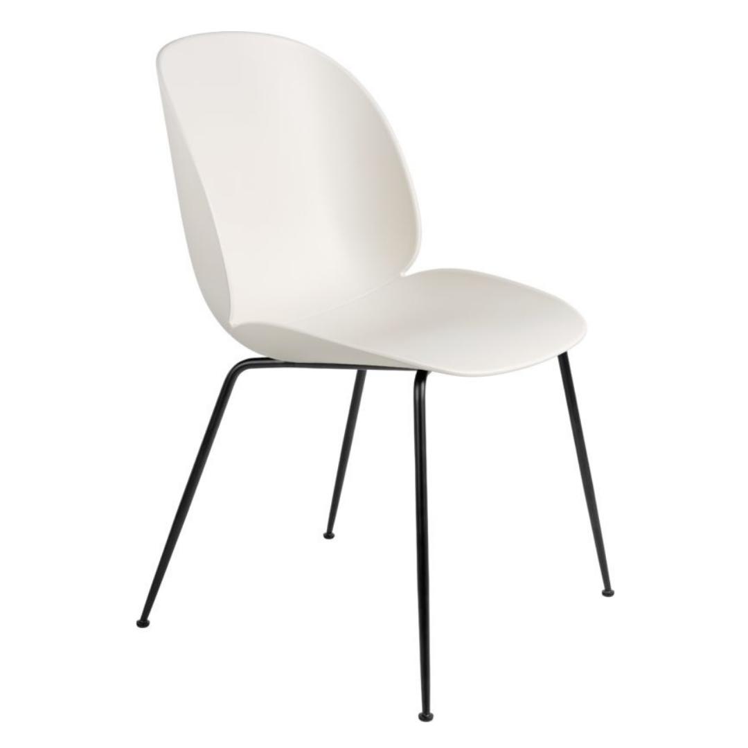 Gubi Beetle Dining Chair Alabaster White Black Conic Base Nordic New