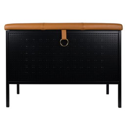 MAZE INTERIOR INT. FRANK STORAGE BENCH BLACK - COGNAC LEATHER