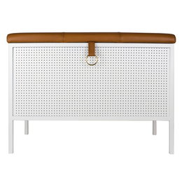 MAZE INTERIOR INT. FRANK STORAGE BENCH WHITE - COGNAC LEATHER