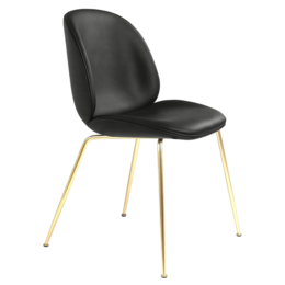 GUBI Beetle chair black leather - conic base