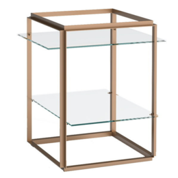 NEW WORKS FLORENCE SIDE TABLE BRASS - CLEAR GLASS