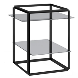 NEW WORKS FLORENCE SIDE TABLE BLACK - SMOKED GLASS