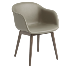 MUUTO Fiber armchair leather - wood base