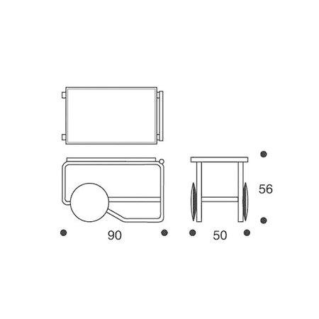 ARTEK Tea Trolley 900 Berken - Zwart Keramiek Tegels