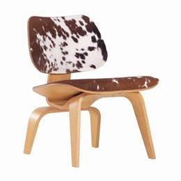 VITRA Eames Lcw Fauteuil Kalfs Vel Bruin/Wit