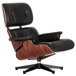 VITRA Lounge Chair New Size - Palissander - Leer L40