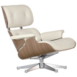 VITRA Lounge Chair Classic Size - Walnoot  - Leer L40