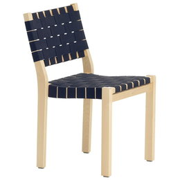 ARTEK Chair 611 Berken - Zwart-Blauw/ Webbing