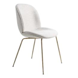 GUBI Beetle chair upholstered Safire  - base brass