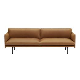 MUUTO Outline 3 seater sofa refine cognac leather - base black