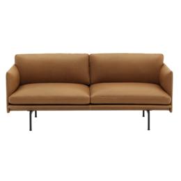 MUUTO Outline 2 seater sofa refine cognac leather - black base