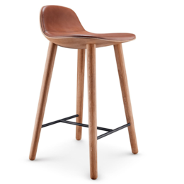 EVA  SOLO Abalone bar stool oak - cognac leather seat