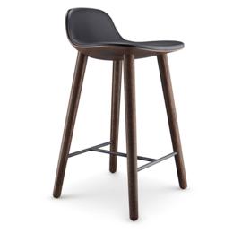 EVA  SOLO Abalone bar stool smoked oak - black leather seat