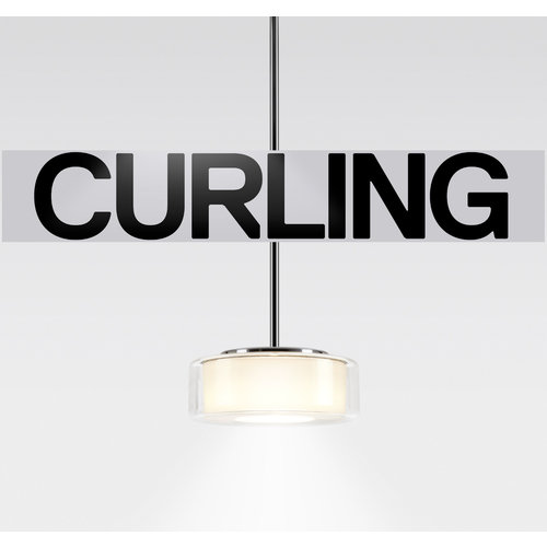 Serien Curling hanglamp: Tube. Transparant/cilinder opaal M