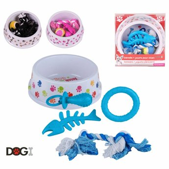 DOGI Hondenvoerbak met speeltjes, 6-delig